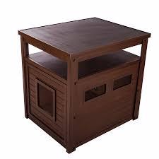 litter box end table ecoflex jumbo cat litter box cover end table russet walmart com