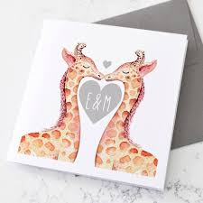 s day giraffe personalised giraffes s day card