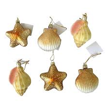 christmas ornament sets 6 blown glass shell seashell christmas ornaments home