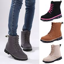 womens boots for flat s boots flat heel lace up fur lined winter martin