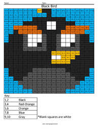 angry birds addition subtraction coloring squared