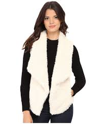 calvin klein short hair faux fur vest in white lyst