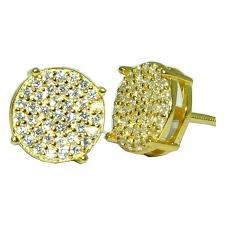 mens gold stud earrings stud earring 8mm pave back 4ct solitaire look men