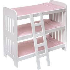 Plans For Triple Bunk Beds by Badger Basket Triple Doll Bunk Bed With Ladder And Pink Gingham