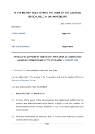 affidavit in support of rescission document labour law south