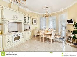 Kitchen And Dining Room Classic Style Kitchen And Dining Room Interior Stock Photo Image