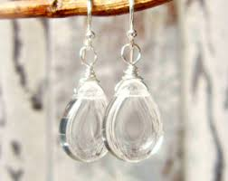 clear earrings clear drop earrings etsy