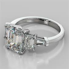 emerald stones rings images 2 31ct emerald cut 5 stone engagement ring with baguette accents jpg
