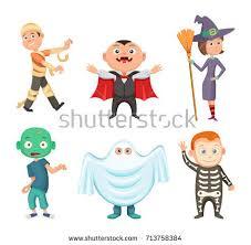 Ghost Halloween Costumes Boys Children Fun Superhero Costumes Party Halloween Stock Vector