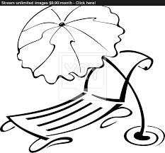 black and white contour umbrella and beach chair vector