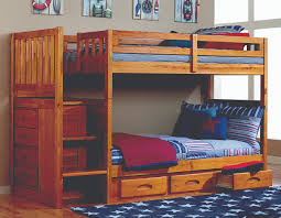 Discovery World Furniture Twin Over Twin Honey Mission Staircase - Twin over twin bunk beds