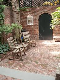 Herringbone Brick Patio Garden Level View With Herringbone Patio Looking Toward Alley