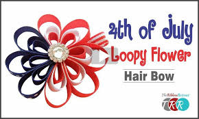 fourth of july hair bows of july loopy flower hair bow the ribbon retreat