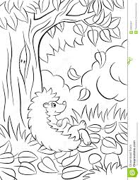 little cute kind hedgehog sits near the tree and smiles stock