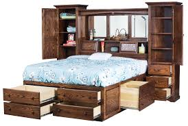 Pine Platform Bed With Headboard 23 Queen Storage Bed Bookcase Headboard Complex Brown Stained Pine