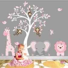 jungle animal nursery wall art stickers jungle wall art decals pink and grey nursery