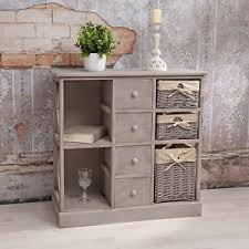 etagere shabby commode armoire 繪tag罟re shabby chic gris avec 3 paniers 罠tag罟re
