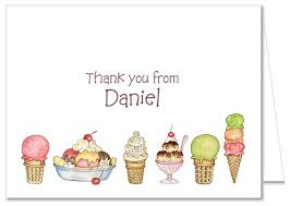 ice cream birthday party thank you note cards personalized