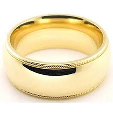 Mens 8mm White Gold Comfort Fit Wedding Band 18k Yellow Gold 8mm Comfort Fit Milgrain Wedding Band Heavy Weight