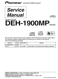 pioneer deh 1900mp cd receiver service manual pdf download