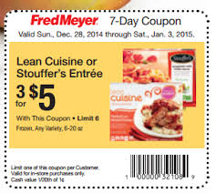 lean cuisine coupons lean cuisine entrees only 1 33 at fred meyer with coupon