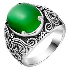 vintage rings aliexpress images Women mens big ring silver jewelry with green opal stones men jpg