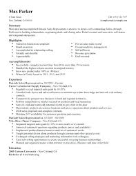 sample of resume for sales representative example of a sales