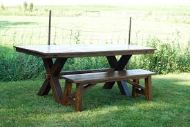 lg custom woodworking trestle picnic style dining table and bench