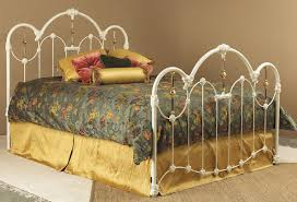 Iron Rod Bed Frame White Wright Iron Bed Design With Khaki And Yellow Bed Cover