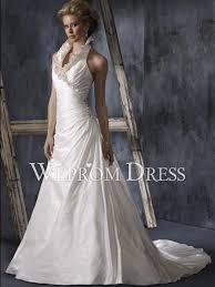high neck halter wedding dress ruffles shirring chapel sleeveless v neck halter a line