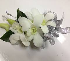 white orchid corsage wrist corsage of white orchid sparkle silver by in ottawa