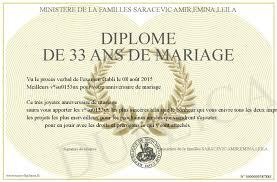 33 ans de mariage diplome de 33 ans de mariage