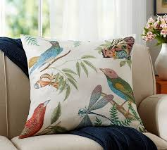 Pottery Barn Kilim Pillow Cover Fauna Print Botanical Pillow Cover Pottery Barn