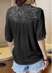lace panel half sleeve black blouse modlily com usd 27 12