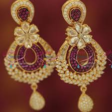 gold plated earrings er5375 cz rani pink gold plated fancy big grand dulhan earrings