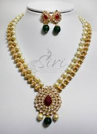 new necklace set gold images Polki necklace set in gold balls and pearls jpg
