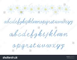 floral embroidery alphabet lowercase cursive embroidery stock