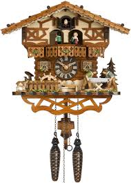 hones chalet style quartz musical cuckoo clock with men sawing