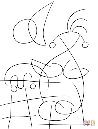the sun embracing the lover by joan miro coloring page free