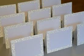 blank silver glitter layer tented place cards 3 x 4