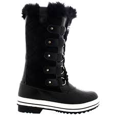 womens quilted boots uk womens quilted lace up fur lined warm shoes duck winter