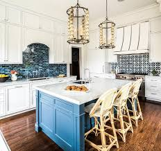 blue kitchen backsplash blue kitchen island with bistro stools transitional kitchen