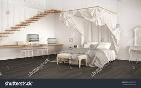 canopy bed minimalistic white gray bedroom stock illustration
