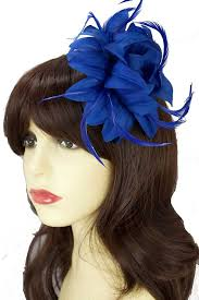 small fascinators for hair royal blue flower feather clip fascinator blue hair