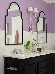 lavender bathroom ideas white subway tile is paired with bright lavender walls for a