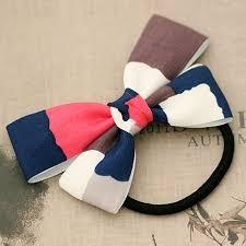 ribbon elastic contrast color plaid ribbon bow elastic hair bands t fq114