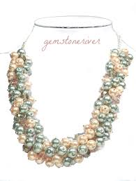 crystal pearl necklace set images Pink grey pearls crystal cluster statement unique necklace jpg