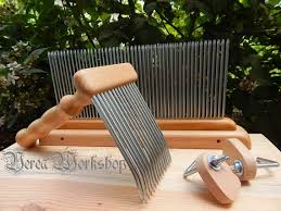 carding comb and carding comb wool comb and blending hackle set 1