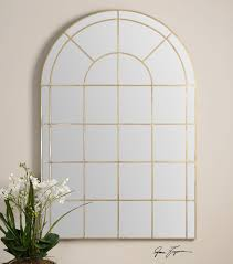 grantola large scale arched windowpane mirror by uttermost