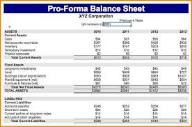 Pro Forma Balance Sheet Template 8 Pro Forma Balance Sheet Template Writable Calendar